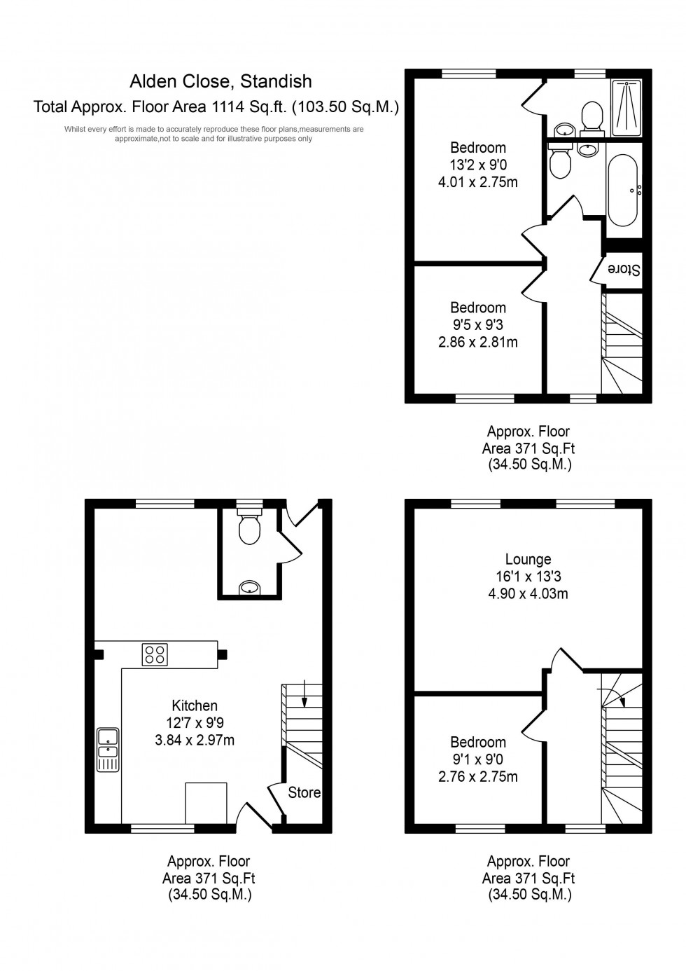 Floorplan for Alden Close, Standish