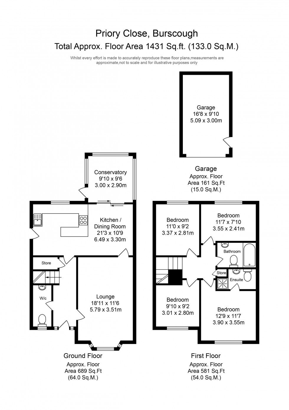 Floorplan for Priory Close, Burscough