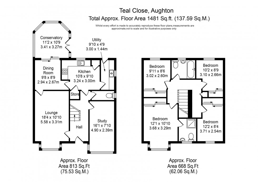 Floorplan for Teal Close, Ormskirk