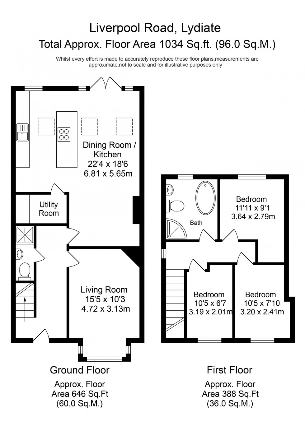 Floorplan for Liverpool Road, Lydiate
