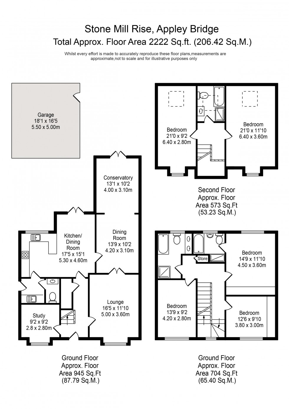 Floorplan for Stonemill Rise, Appley Bridge